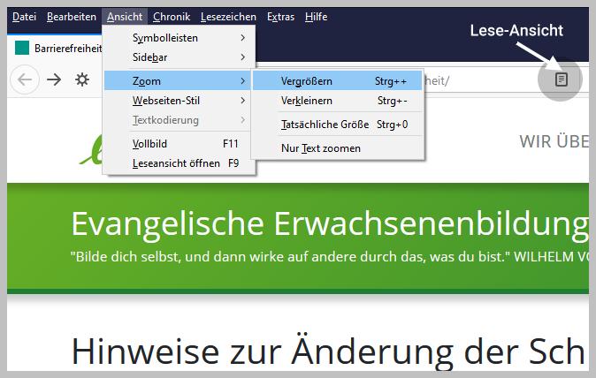 Schrift-Einstellung Browser Firefox